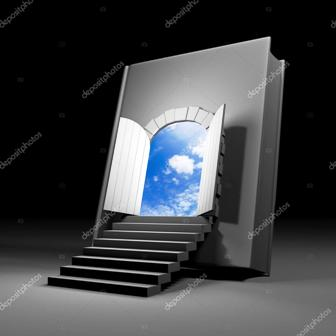 depositphotos 70148429 stock photo book with door to future